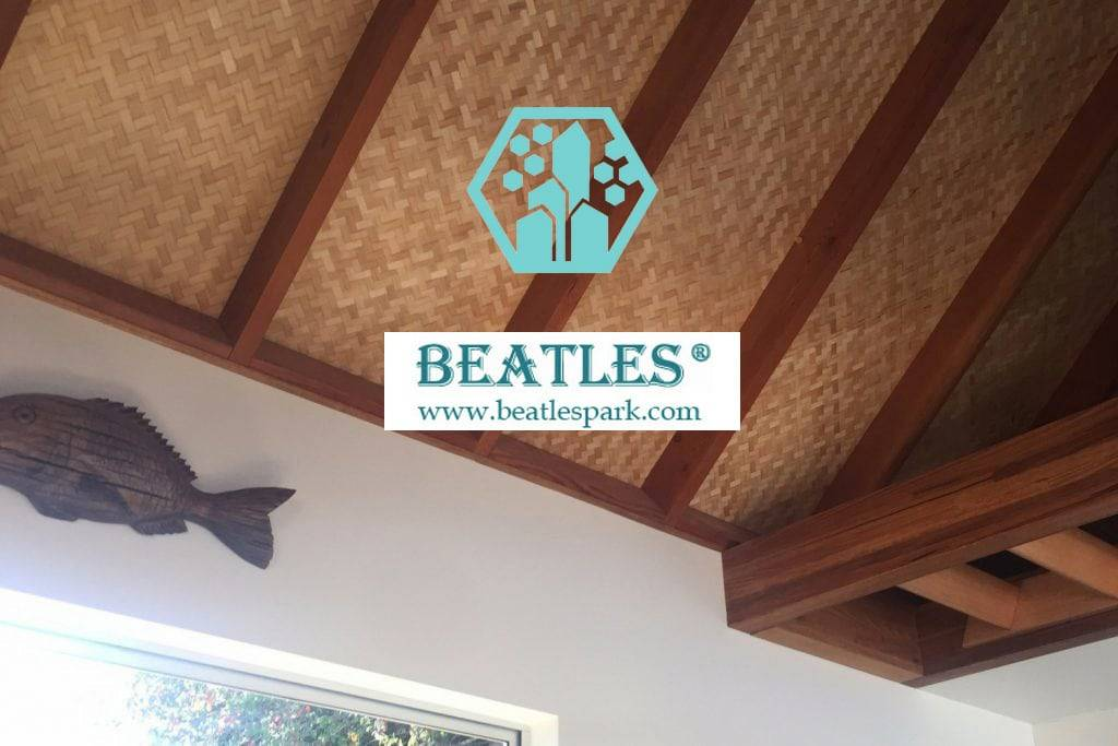synthetic bamboo ceiling mat used for resort hotel decor in Southeast Asia