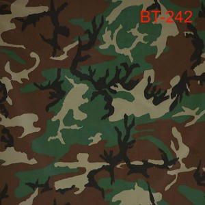 US army style woodland camouflage fabric