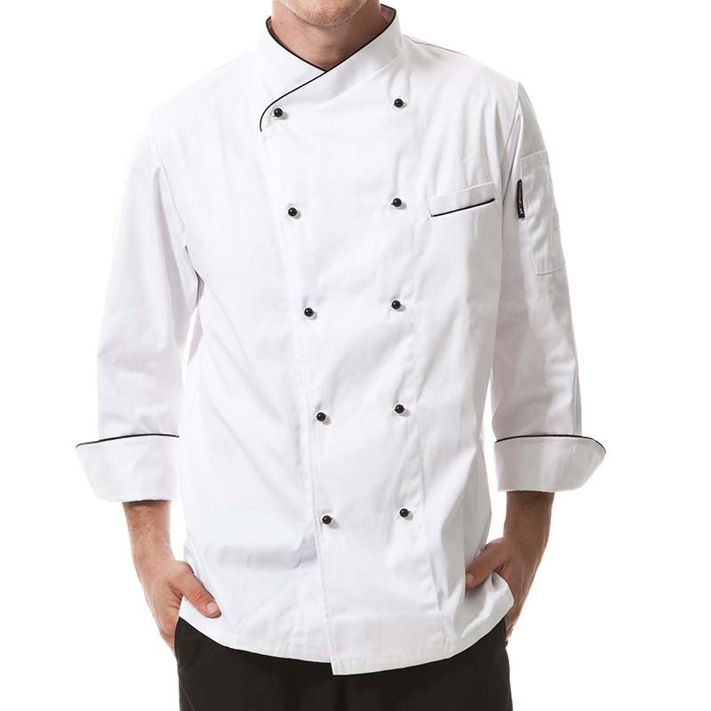 Double Breasted Cross Collar Long Sleeve Chef Uniform And Chef Jacket For Hotel And Restaurant CU102C0201C