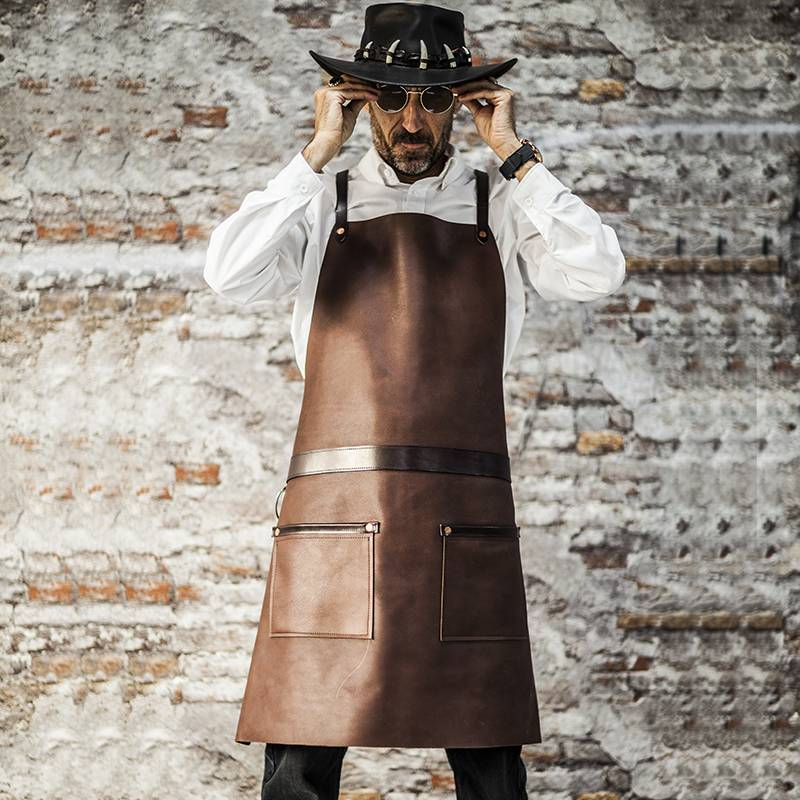 Genuine Leather Anti-Wrinkle Crossback Chef Apron CU355S134011U4
