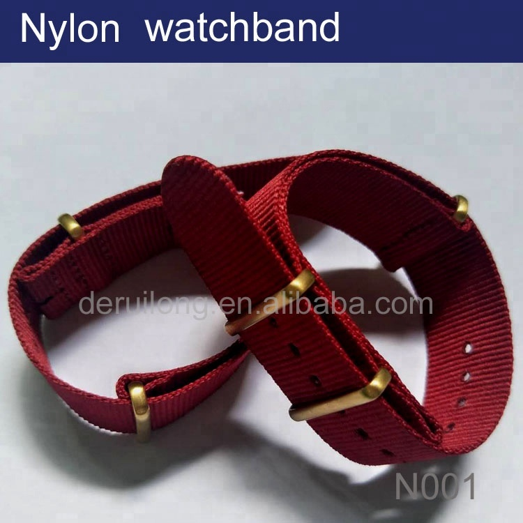 Nylon Watch Band Woven Replacement Nylon Watch Strap with Classic Square Metal Buckle