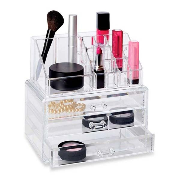 2018 New Style Acrylic Cosmetics Display Shelf - acrylic storage boxes for makeup – LongFuJin