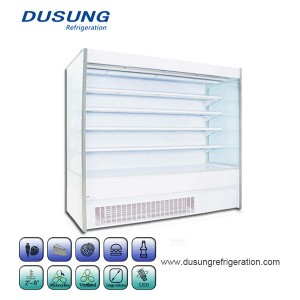 Commercial Refrigeration Equipment Double Air Curtain Of Fruits And Vegetables Refrigerated Display Cabinet