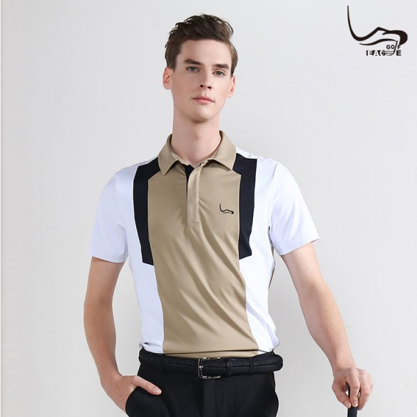 High quality four-sided stretch khaki men's polo shirt custom