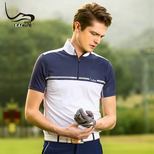 Wholesale polyester and spandex short sleeve dry fit men's polo golf t-shirt