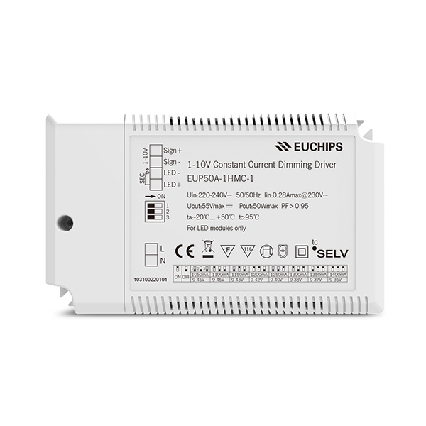 OEM Manufacturer 30a Pwm Led Dimmer Controller – 50W 1050/1100/1150/1200/1250/1300/1350/1400mA CC 1-10V Driver – Euchips detail pictures
