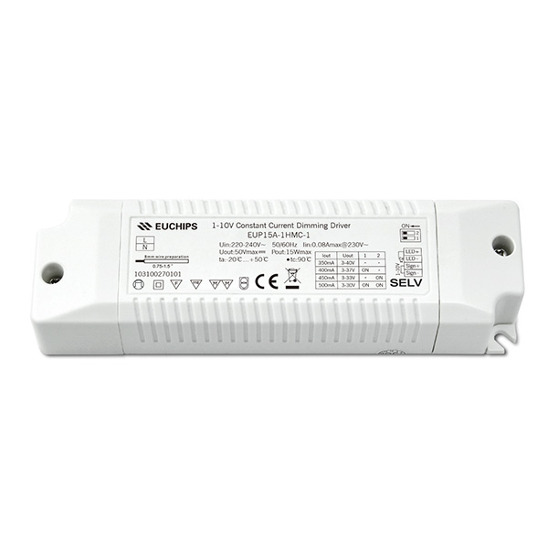 OEM China Dimmable 12v Led Transformer – 350/400/450/500mA 15W CC 1-10V Driver  – Euchips