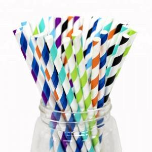 Durable Bubble Blue Food Grade Paper Straws