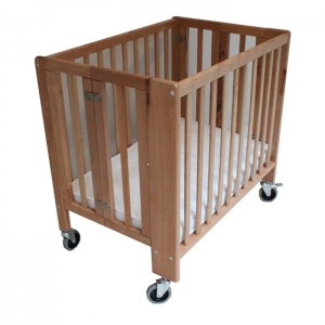 Hotel Use Foldable Baby Cot with Big Wheels