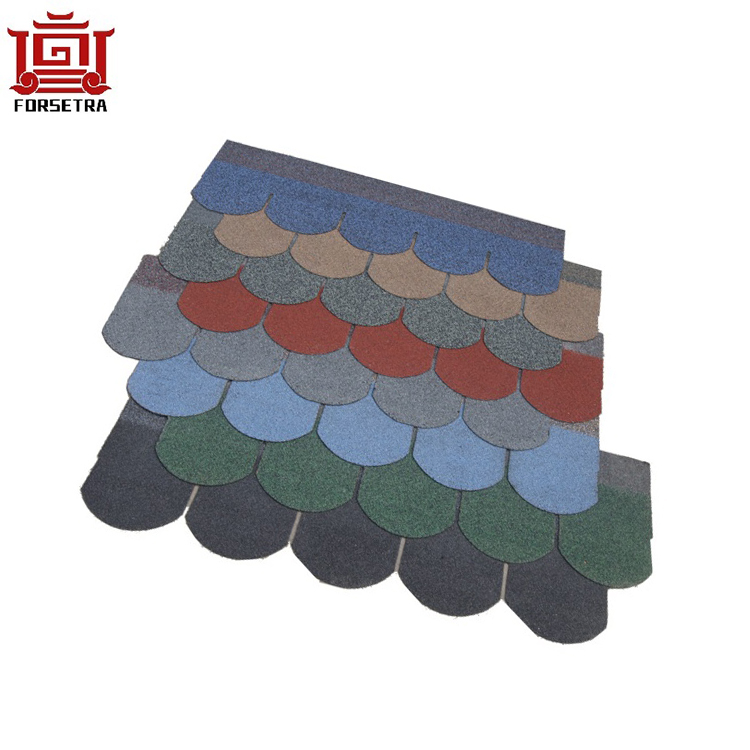 Good quality Cheap Price fiberglass asphalt roofing shingle fish scale green 5 tab fiberglass shingles for Cambodia