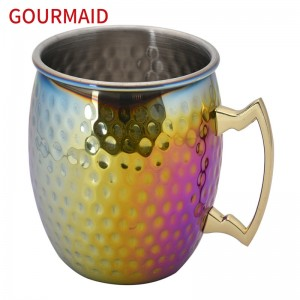Color plated Hammered moscow mule mug