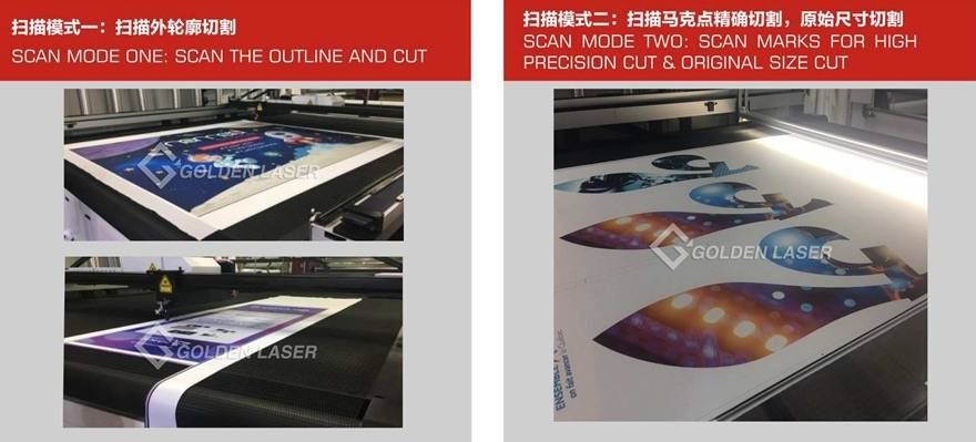 two scan mode for vision laser cutting