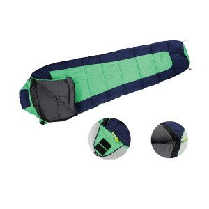Hooded camping mummy sleeping bag
