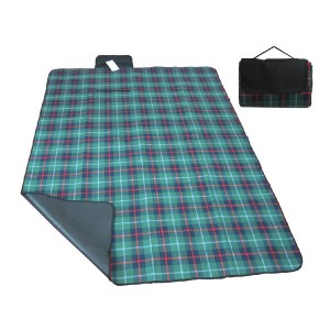 Green plaid foldable picnic blanket