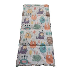 worm printing kids sleeping bag