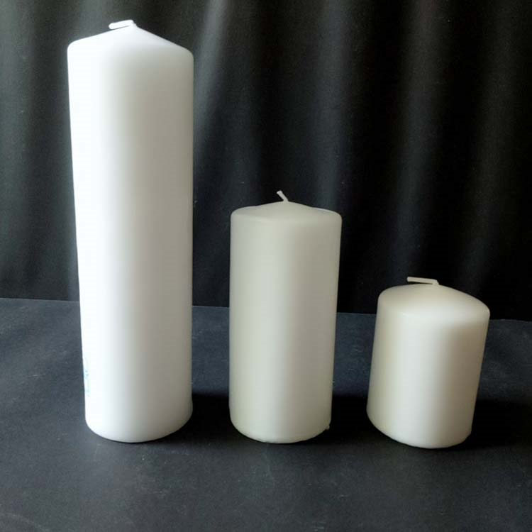 Pillar Candle-2 Lighting and Praying Machine Pressed 7cm Unscented White Color Church Pillar Candle Featured Image