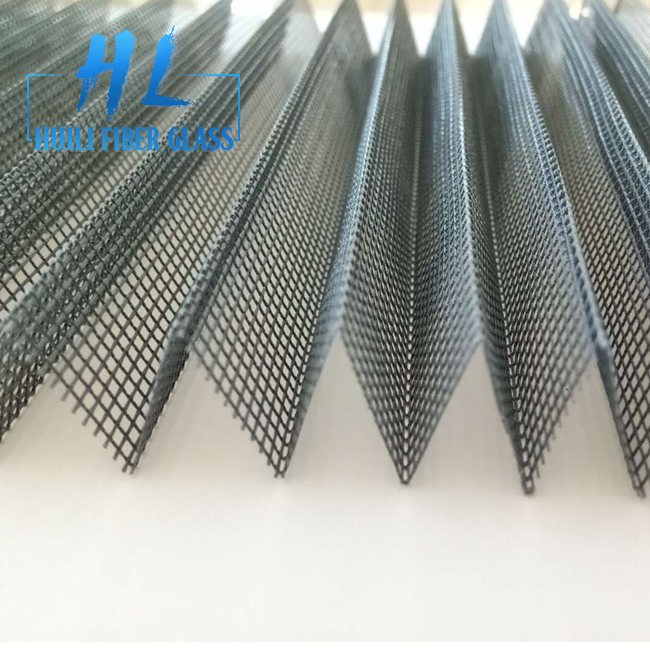 Grey and Black Color PP Pleated Window Screen Mesh for Construction Featured Image