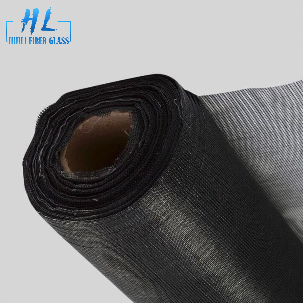 Black pvc coated 1m x 30m roll fiberglass insect window screen mesh roll