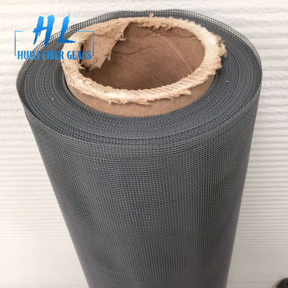 Grey color PVC coated Insect Window Screen Mesh 30m Roll