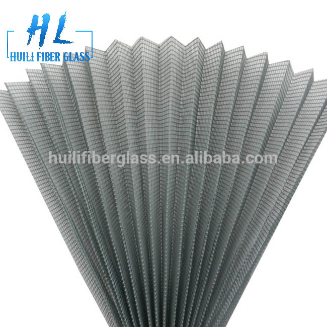 Top Quality Gray Color Fiberglass Plisse Insect Screen Pleated Window Screen, Folding Insect Mesh
