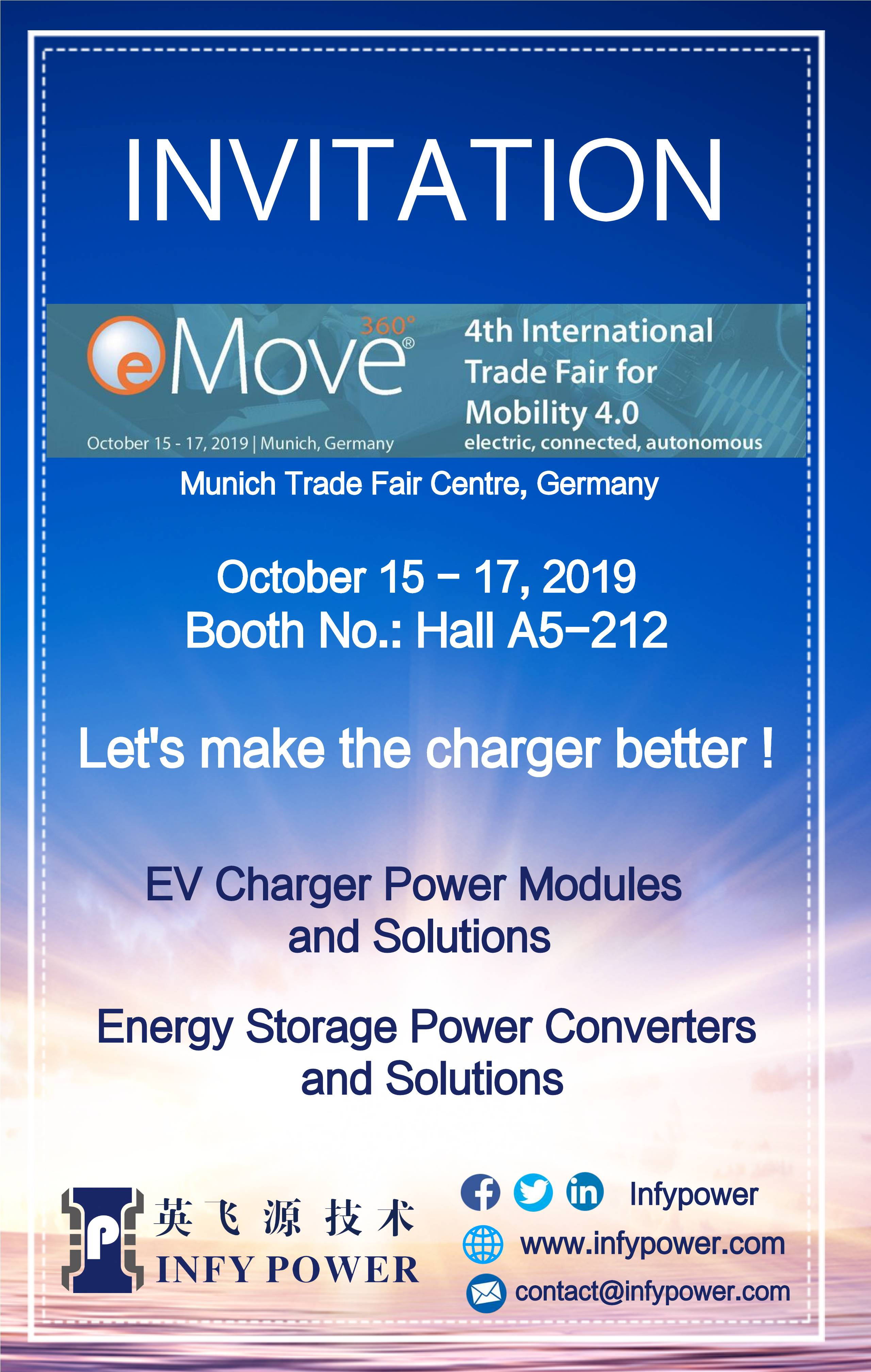 Infypower sincerely invite you to visit our booth in eMove 360 Europe 2019