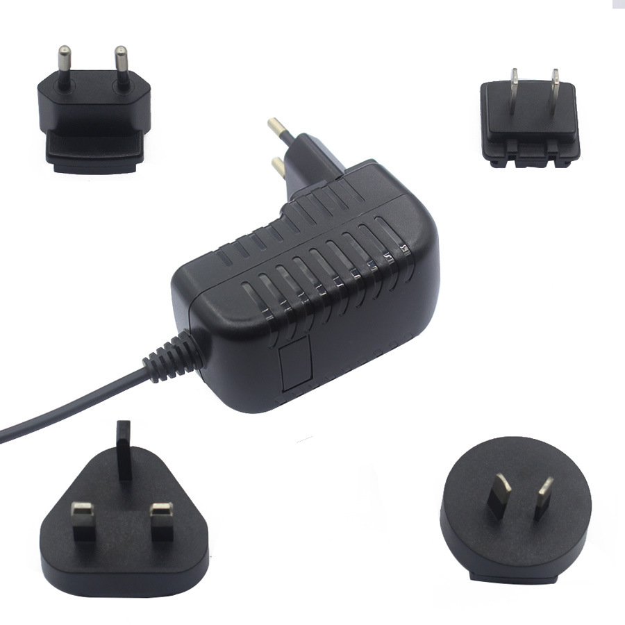 Interchangeable AC plug adapter12V1A for electronics device