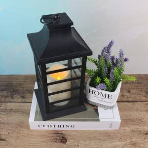 grid shape plastic candle lantern garden decorative