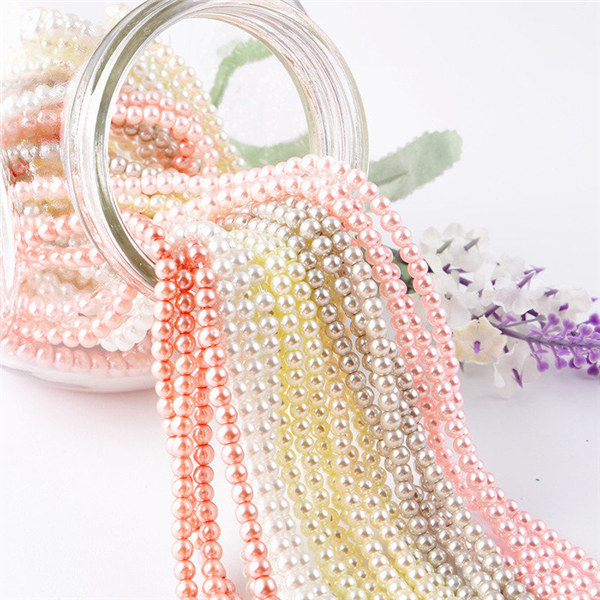 Free shipping 4mm 6mm 8mmround glass pearl beads necklace loose imitation pearl pearl jewelry Featured Image