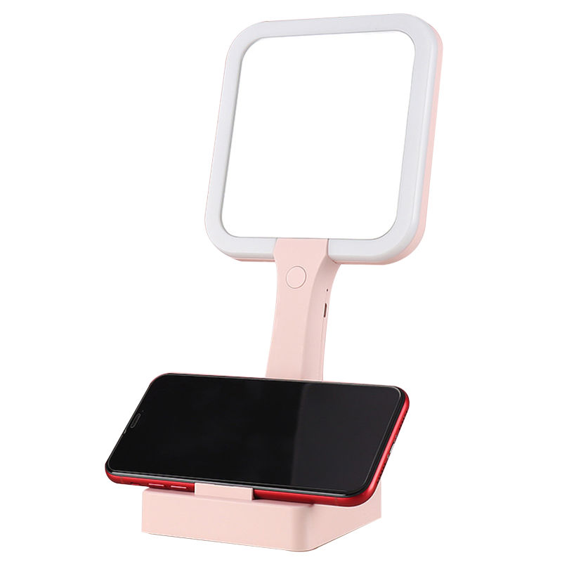 LED Lighted Travel Makeup Mirror With Phone Holder