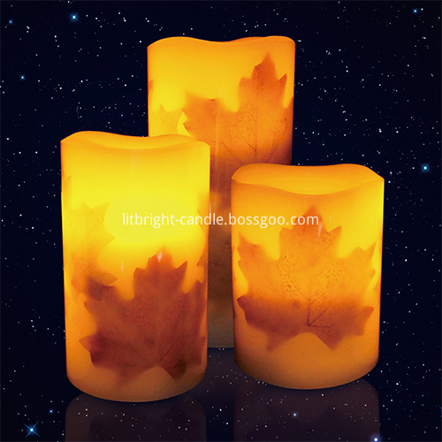 Multi Dirûna Autumn Leaf LED Wêne Pillar Candle Taybete