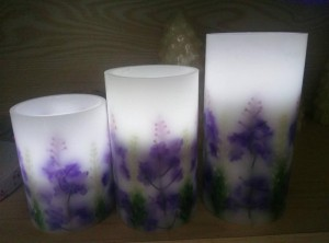 Flameless battery control Lavender LED candle