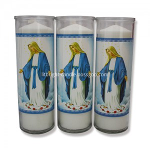 8 inches glass jar religious candle