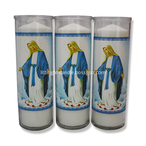 8 pouces bocal en verre bougie religieuse Photo descriptive