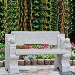 Outdoor cheap granite stone park bench with back for sale