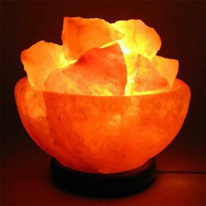 Hand Crafted Rock Salt Bowl Lamp with Himalayan Salt Chips, Wood Base, Electric Wire & Bulb