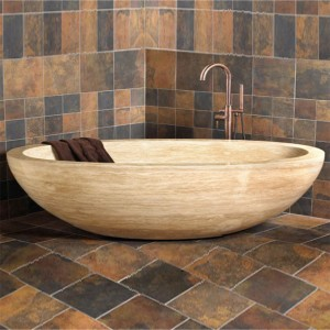 Oval Shape Brown Stone Freestanding Bathtub