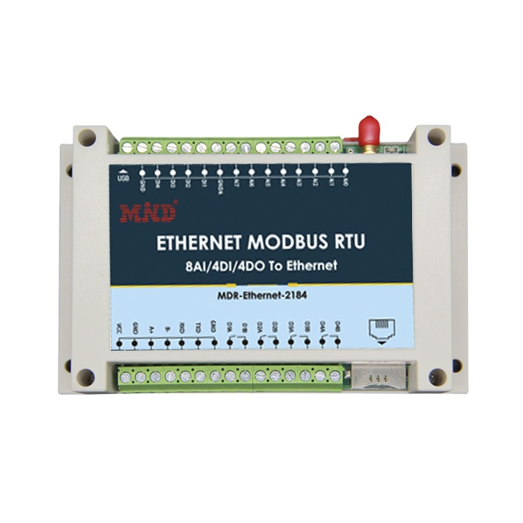 MDR2184 Ethernet RS232/485 Modbus TCP/UDP RTU 8 Analog input 4 Digital input 4 Relay output 16 channels Acquisition I/O module