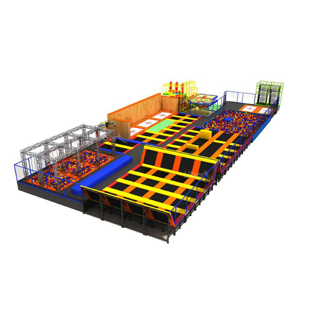 Custom colorful large commercial indoor trampoline park with basketball stand Featured Image
