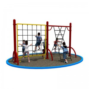 kids fitness climbing equipment outdoor playground with slides and playhouse