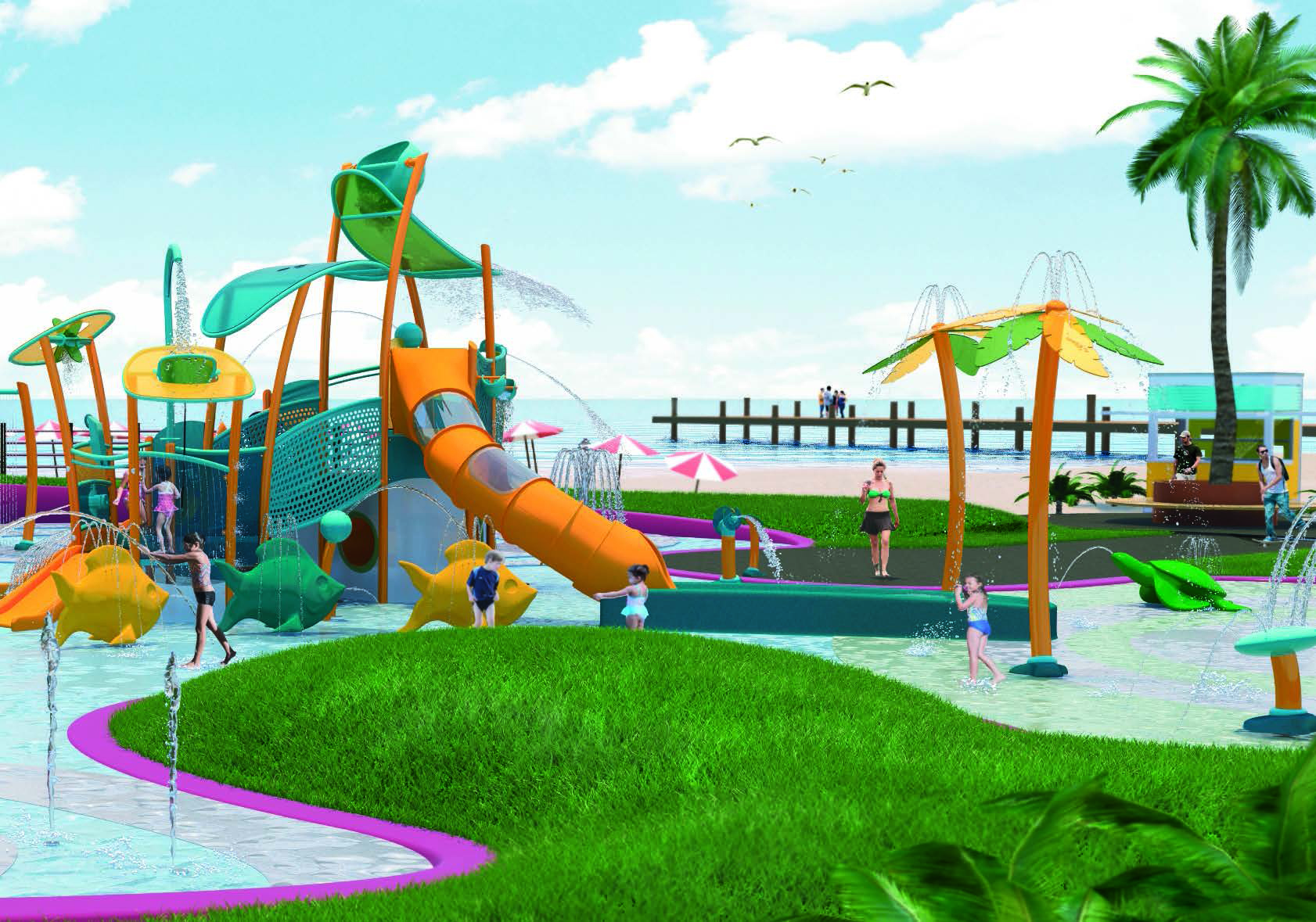 kids mini water splash park playground Featured Image