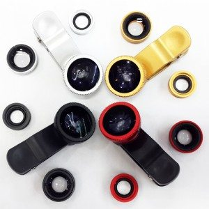 iphone clip lens-3 in 1 fisheye lens for iphone-universal clip lens for mobile phone