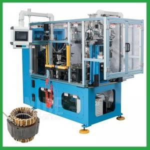 Automatic four-station stator coil tying machine for compression motor