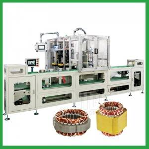 Automatic induction motor stator coil lace machine production assembly line for electric motor coil binding