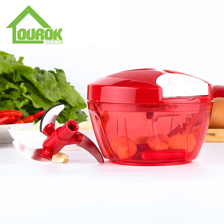 Hot selling plastic manual Mini food chopper for home use A008(Red) Featured Image