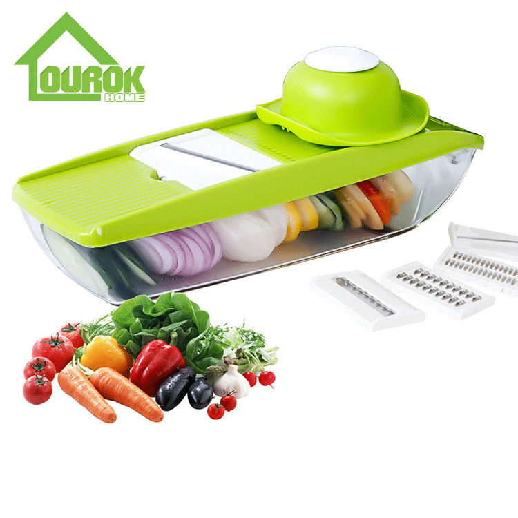 Multifunction Plastic manual Vegetable Cutter With 5 Blades for home use C311 Featured Image