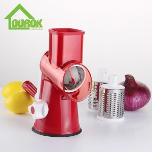 Round multi vegetable nut onin carrot potato slicer cutter grater with 3 blades C315 (Red)