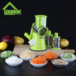Round multi vegetable nut onin carrot potato slicer cutter grater with 3 blades C315 (Green)