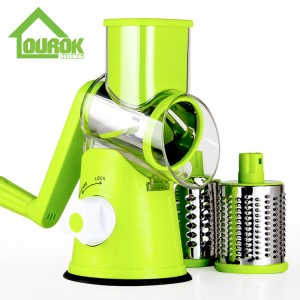 Ourok green round multi vegetable nut onion carrot potato slicer cutter grater with 3 stainless steel blades C315
