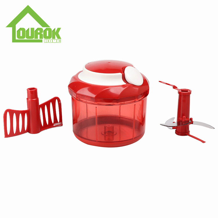 Plastic manual food and vegetable chopper for kitchen A009(Red) Featured Image