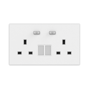 ZigBee Wall Socket 2 Outlet (UK/Switch/E-Meter) WSP406-2G